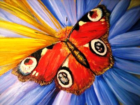 бабочка на цветке, масло, анатолий резчиков
