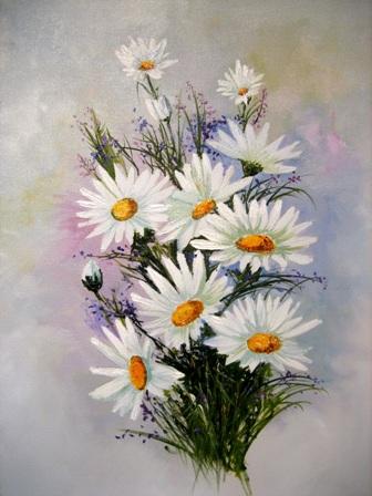 рисунки цветов,анатолий резчиков,букет ромашек