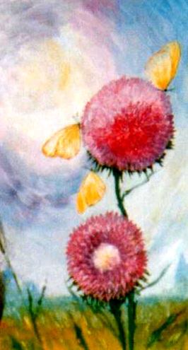 рисунки цветов маслом, репейник, масло, александр григорьев