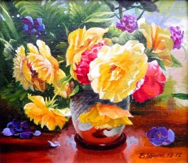 цветы в горшке, масло, виктор батищев