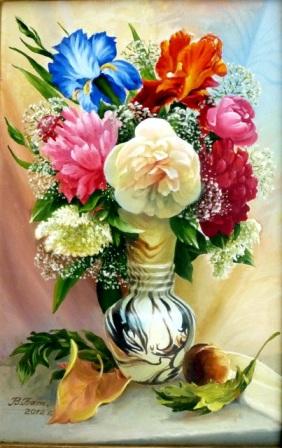 цветы с персиком, масло, виктор батищев