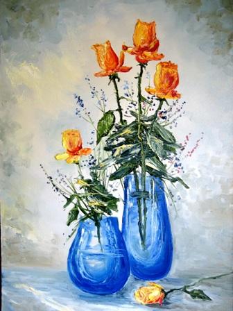 оранжевые розы, масло, анатолий резчиков