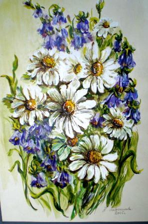 рисунки цветов,алевтина лавриненкова,букет полевых цветов