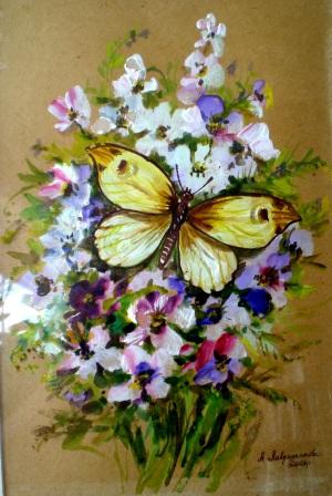 бабочка на букете, акварель, алевтина лаврененкова