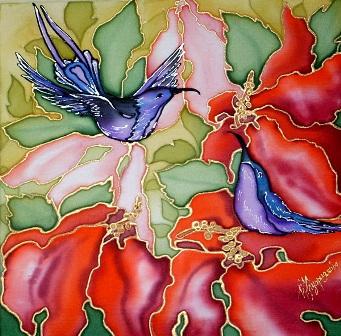 Цветы и колибри. Работа Ирины Куприяновой