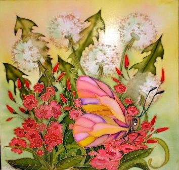 цветы в батике,ирина куприянова