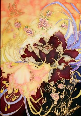 цветы в батике,ирина куприянова,батик
